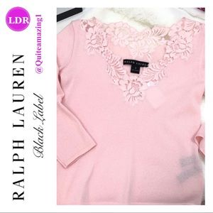 RALPH LAUREN Black Label Pink Cashmere Top